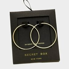 "Hoop Earrings Thin Secret Gift Box 14K GOLD DIPPED Plain Simple Classic 1.5"""