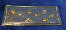 """Vintage Glass Serving/Vanity Tray w/Gold Painted W. B. Characters 14.5"""" X 5 3/4"""""""