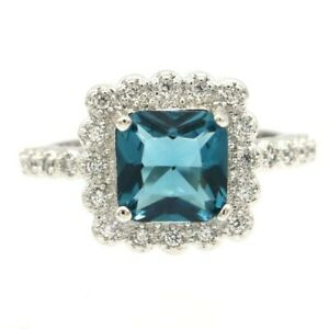 SheCrown Hot Sell London Blue Topaz CZ Ladies Present Silver Ring 7.5