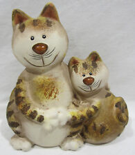 Ceramic Tabby Cat & Kitten Ornament Sculpture Figurine Great for Cat Lovers GC09