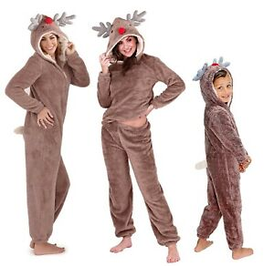 Christmas Reindeer Pyjama Sets, Novelty Rudolf Hooded Fleece Pjs, 1Onesie or Pjs
