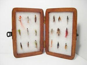 Vintage Wooden Foam Lined Fly Box Case & Various Trout Flies