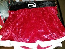 Sexy Santa Red Crushed Velour Fly Front Boxers Christmas  Lg, XL