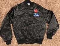 "Vtg Mission Valley ""'pride Inside"" Black Satin Button Up Jacket Womens M A31"