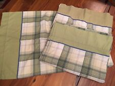 Vintage Springs Twin Size 2 Flat Sheets + 1 Pillowcase Check Plaid Olive Green