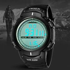 OHSEN Mens Military Water Proof Digital Light Black Sport Quartz Wrist Watch