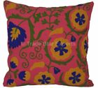 """16"""" Indian Suzani Floral Cushion Cover Embroidered Pillow Cases Throw Decor Sham"""