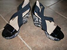 NEW!! Womens BCBGeneration Black Wedge Heels Shoes Open Toe Size 7.5 M