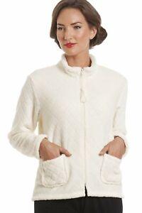 Camille Womens Ladies Nightwear Ivory Supersoft Fleece Zip Up Bed Jacket Top