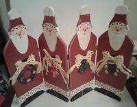 "Christmas Decoration Santa Claus 4 Panel Screen Wood Hand Painted 14"" Tall"