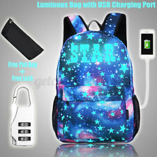 Luminous Galaxy Star Backpack Anti-theft Lock USB Charger Laptop School Bag W ♡