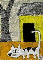 21041309 e9Art ACEO Cat Folk Rural Outsider Art Painting Surrealism Original ATC