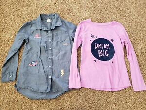Girls Shirts Size 7, Youth Kid Long Sleeve Top 7/8, Space, dream big