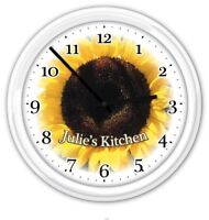 Sunflower PERSONALIZED Wall Clock Kitchen Home Decor Country Flower GIFT