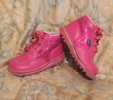 KICKERS BOOTS PINK SEQUINNED SIZE 8 EU 25 SATIN RIBBON LACES