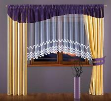 Set of Amazing Curtains with Purple Pelmet Valance White Jardiniere Net Curtain