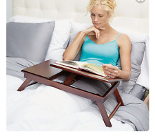 Portable Small Espresso Wood Laptop Lap Desk Bed Table Stand Tray