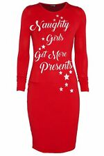 Womens Ladies Xmas Christmas Belted Santa Claus Elf Costume Bodycon Mini Dress