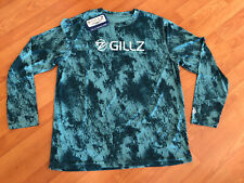 Gillz Men's L/S Uv Performance Tee Shirt - Meadowbrook Grunge Scales - Size M