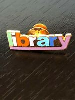 Vintage Library Spelled Out Lapel Pin Pinback Hat Pin Metal Gold Tone Colorful