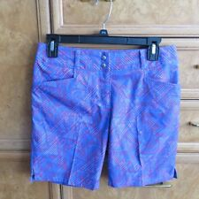 Women's Adidas golf shorts blue pink red print polyester sz 2 brand new NWT $70