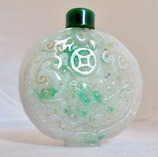 "Vintage ? Chinese Jadeite Jade Snuff Bottle with Qilin, Coins & Ruyi  (2.35"")"