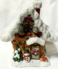 """Christmas Candle Holder House Glittery Snow Roof Light Shines Through Windows 6"""""""