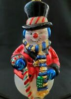 VINTAGE Mercury Glass Large Snowman Figure Christmas Ornament