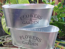 Set of 2 Galvanized Tin Flowers & Garden Style Country French Cottage Holder