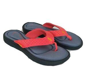 NIKE Comfort Footbed Flip Flop Thong Sandals Neon Orange Women Sz 8 M