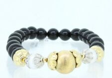 14K Matte Yellow and White Gold Natural Black Onyx Beads Stretch Bracelet 6.5-9""