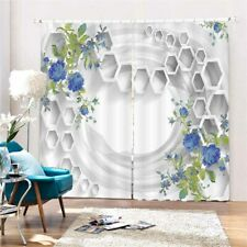 Honeycomb Blue Rose 3D Curtain Blockout Photo Printing Curtains Drape Fabric