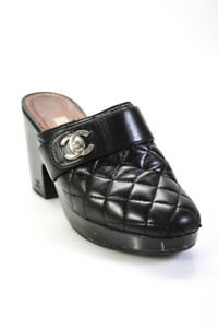 Chanel Womens Quilted Leather Platform High Heel Clogs Mules Black Size 40 10