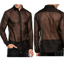 Mens See-through Mesh Tops Shirt Muscle Long Sleeve Tee Blouse Party Clubwear