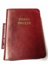 Uwspółcześniona Biblia Gdańska, mała skórzana z zamkiem, nowa, bordowa gładka