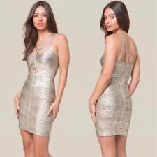 BEBE ANGELICA FOIL HARNESS BANDAGE DRESS NEW NWT $119 LARGE L