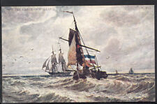 Dutch Shipping Postcard - Masted Ships Off The Coast of Holland  A6371