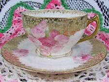 ERDMANN SCHLEGELMILCH THURINGIA HP ROSES GOLD TEA CUP AND SAUCER