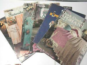 6 1970-90's Crochet Afghan & Crafts Pattern Books-Leisure Arts & Annie's Attic