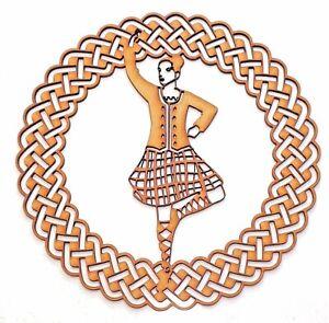 Wooden MDF Blank shape - Highland dancer female in Celtic ornamental round frame