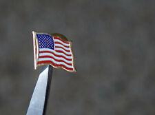 Red Blue Enamel - Gold Tone Metal Vintage Usa American Flag - Pin -