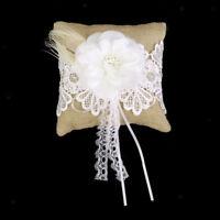 "Burlap Hessian & Lace Rustic Country Wedding Ring Pillow Cushion Bearer 6"""