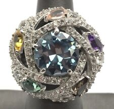 Sterling Silver 925 Colorful Gemstones CZ Pave Spiral Loop Chunky Statement Ring