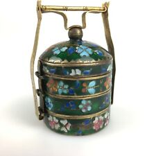 Vintage Antique Chinese Polychrome Cloisonne Stacking Box or Tiffin Turquoise