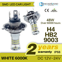 2X H4 9003 HB2 48W 420LM Car LED Fog Light DRL 3014SMD White Driving Lamp 6000K