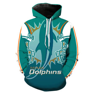 Miami Dolphins Hoodie Pullover Sweatshirts Coat Sweater Football Fan's Gifts