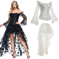 Women Gothic Steampunk Lace Up Bustier Corset Dress Set w/Sleeve+Irregular Dress