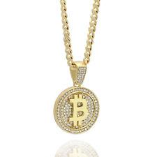 """Men's 14k Gold Plated High Fashion Bitcoin Pendant 5mm 24"""" Inch Cuban chain"""
