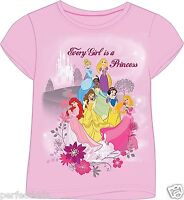 GIRLS KIDS OFFICIAL DISNEY PRINCESS PRINCESSES CARTOON CHARACTER T-SHIRT TOP NEW