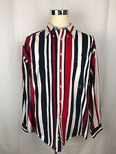 Vtg Tommy Hilfiger Striped Long Sleeve Button Down Shirt Red White Blue XL EUC